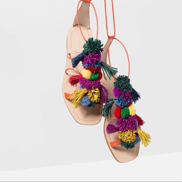 Zara Shoes | Zara Pom Pom Sandals